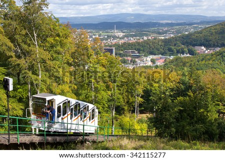 KARLOVY VARY, CZECH REPUBLIC - AUG 16, 2013: funicular to Diana watchtower in spa town Karlovy Vary, West Bohemia, Czech republic. Famous historical springs, most visited in CR.