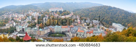 KARLOVY VARY, CZECH REPUBLIC - October 10, 2015: Karlovy Vary. Panorama of the city. Karlovy Vary historically famous for its hot springs (13 main springs, about 300 smaller springs)