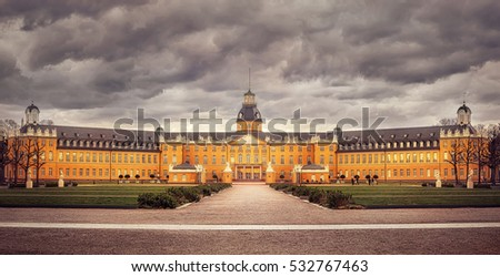 Karlsruhe central Palace building in dark weather