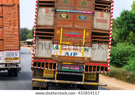 KARNATAKA/INDIA - NOVEMBER 29, 2015: Painted back of indian truck on the roads of India.