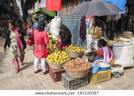 KATHMANDU, NEPAL - CIRCA NOVEMBER 2013: street trading is the basic form of selling in Nepal circa November 2013 in Kathmandu.