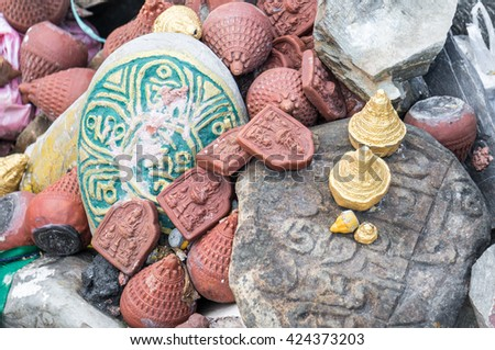 KATHMANDU, NEPAL; Some Buddhist objects at a Temple in Nepal.