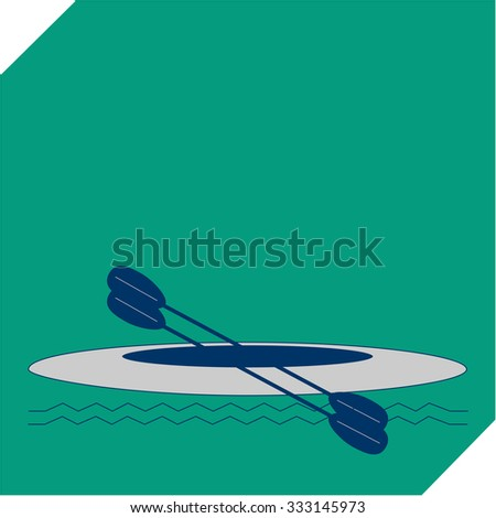 kayak in the sea isolate on green background