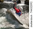 kayaker maneuvering at river treska ,in canyon Matka Macedonia - stock photo