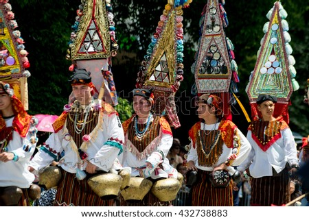 KAZANLAK, BULGARIA - JUNE 5, 2016 - Bulgarian people celebrate the traditional Rose festival at Kazanlak, Bulgaria in traditional costumes.