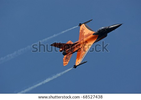 KECSKEMET, HUNGARY - AUGUST 7: F-16 at Airshow on August 7, 2010 in Kecksemet, Hungary
