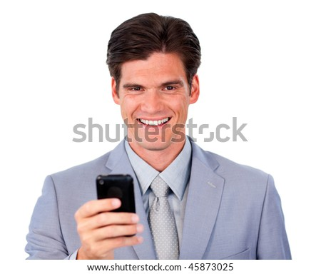 Keen businessman sending a message against a white background