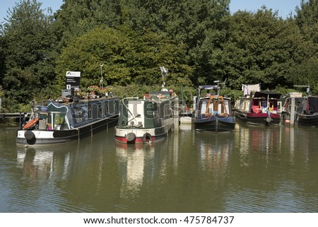 KENNET AND AVON CANAL WILTSHIRE UK - AUGUST 2016 - Kennet and Avon Canal at the Caen Hill flight of locks near Devizes Wiltshire UK
