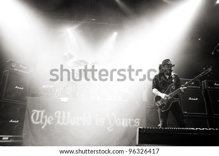 KENT, WA - FEB 21:  Legendary rock singer and bass player Lemmy Kilmister of the Heavy Metal band Motorhead performs on stage during the Gigantour tour on February 21, 2012 in Kent, Washington.