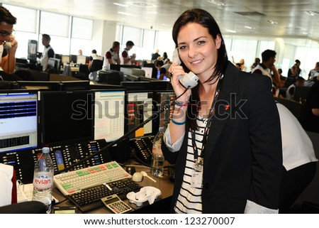 Keri-Anne Payne on the trading floor of BGC as part of the BGC Charity Day 2012, Canary Wharf, London. 11/09/2012 Picture by: Steve Vas