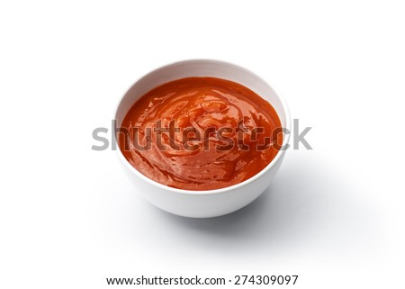 ketchup or chili sauce isolated on white background