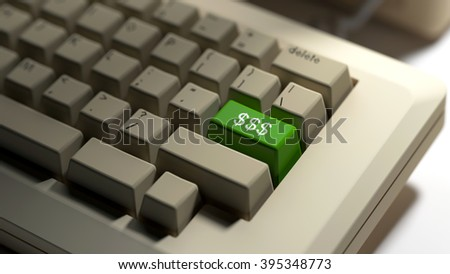 Keyboard with a currency symbol key. 3d