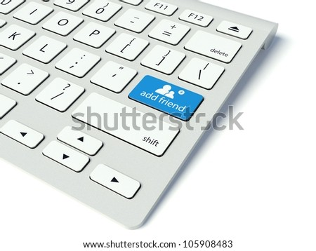 Keyboard with blue Add friend button, social network concept