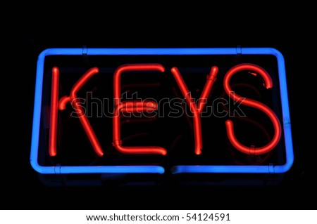 Keys to Success Neon Red and Blue Sign
