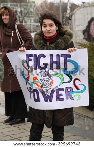"Kharkiv, Ukraine - March 8, 2016: March of Women's Solidarity Against Violence.  Women association ""Sphere"" and some feminist organisations held march during International Women's Day (IWD)."
