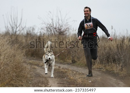 Kharkov, UKRAINE -?? November 15, 2014: Oleg Rudak at canicross heats during Men's 3100 m at Sled dogs dry land race Autumn Cup - 2014