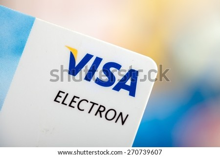 KHERSON, UKRAINE - FEBRUARY 05, 2015: Contactless, payment, pin.