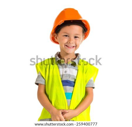 Kid dressed like worker