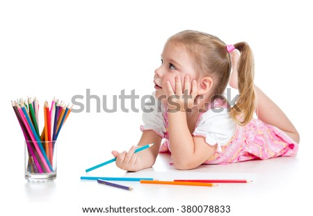 kid girl drawing with color pencils isolated on white
