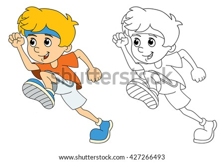 Little Girl Walking Drawing Stock Vector 327670055 Shutterstock