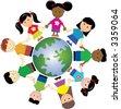 kids around globe - stock photo