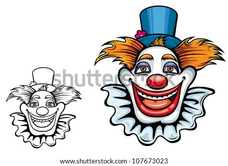 Kids cartoon illustration of a comic happy clown face with tufts of hair and a beaming grin in a coloured and black and white outline variant, isolated on white. Vector version also available