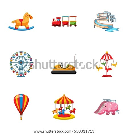 Kids games icons set. Cartoon illustration of 9 kids games  icons for web