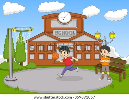Kids playing basketball on the school cartoon