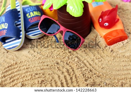 Kids vacations on beach