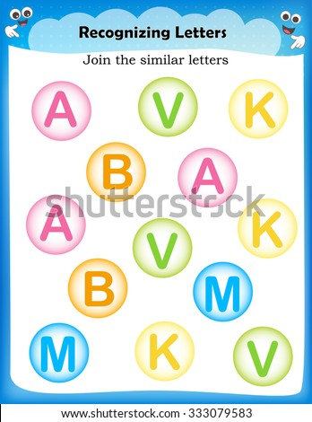 kids worsheet identify and join similar letter bubbles