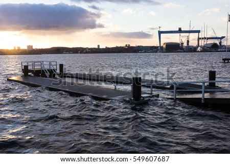 "Kiel, Germany. 5th January, 2017. Kiel, Capital of Schleswig-Holstein, North Germany, after storm front ""Axel"" and a storm tide has passed away"