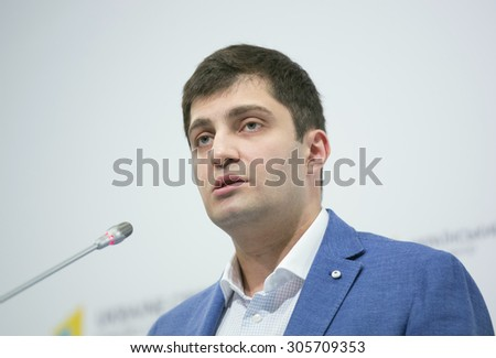 KIEV, UKRAINE - AUGUST, 13, 2015: Deputy prosecutor general of Ukraine David Sakvarelidze during press conference