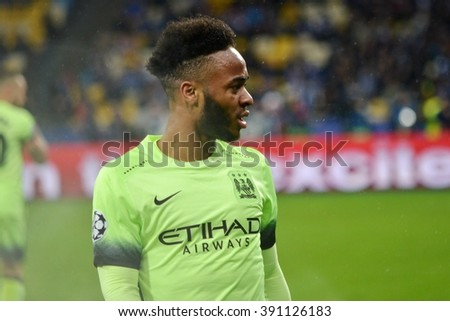 Kiev, UKRAINE - FEB 24: Raheem Sterling (R) in action during the UEFA Champions League match between Dynamo Kiev (Ukraine) vs Manchester City (England), 24 February 2016, Ukraine