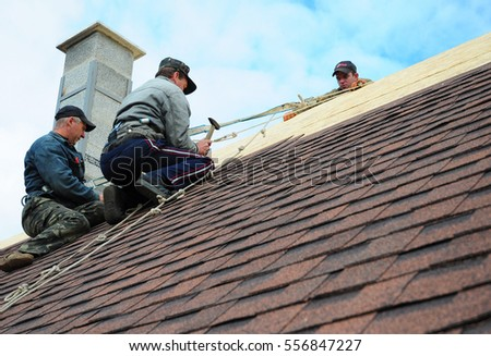 KIEV   UKRAINE, JANUARY   16, 2017: Roofing Construction. Roofing  Contractors Install