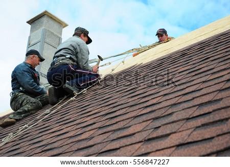 KIEV   UKRAINE, JANUARY   16, 2017: Roofing Construction. Roofing  Contractors Install
