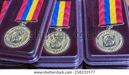 "KIEV, UKRAINE - March 4, 2015: Medal ""For the sacrifice and love for Ukraine"" were awarded today, 46 soldiers from the Battalion of Dzhokhar Dudayev, UNA-UNSO, ""Right Sector"", ""Donbass"", ""Azov"", etc"