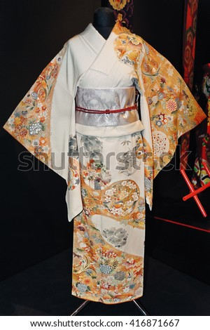 KIEV, UKRAINE - MAY 18: A original Japanese women's kimono with gorgeous colorful embroidery on the exhibit of Japane fashion on May 18, 2013 in Kiev, Ukraine.