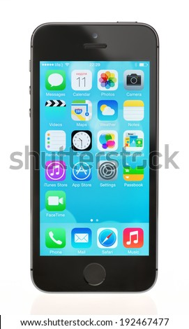 KIEV, UKRAINE - MAY 11, 2014: Studio shot of brand new black Apple iPhone 5S, the most advanced smartphone in part of the iPhone line. Developed by Apple inc. and was released on September 20, 2013.