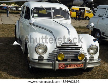 KIEV, UKRAINE - October 2, 2015: Old Car Land is the biggest retro cars festival held in Kiev, and covers the State Aviation Museum grounds