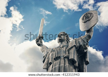 KIEV, UKRAINE - SEPTEMBER 04: The Motherland Monument also known as Rodina-Mat', monumental statue in Kiev, the capital of Ukraine, devoted the Great Patriotic War. September 04, 2013 in Kiev, Ukraine