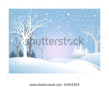 Kind snowy winter landscape illustration