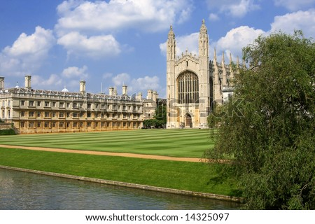 Kings' College Chapel - Cambridge University UK, Beautiful cloudy blue sky