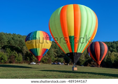 KISLOVODSK, RUSSIA - SEPTEMBER 08, 2016: Hot air balloons ready to take off on the Balloon festival.