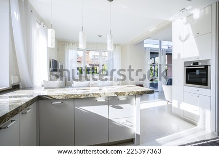 Kitchen and dining room in luxury apartment