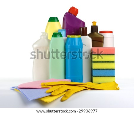 Kitchen cleaning kit - plastic bottles with cleaning liquids, sponges, tissues and gloves, isolated over white