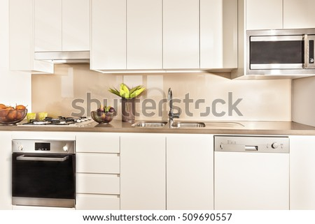 Kitchen interior  and tools illuminated with lights, modern kitchen interior  illuminated with lights, oven and gas cooker have attached to the pantry cupboard, flower pot near the wash basin.