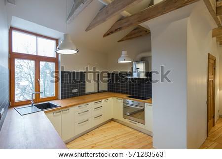 Kitchen Interior In Wooden Style. Modern Wooden Interior Design. Part 46