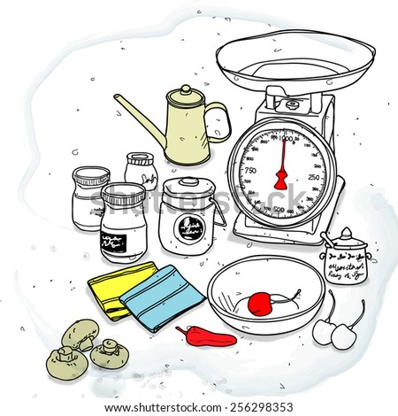 kitchen scale and spice
