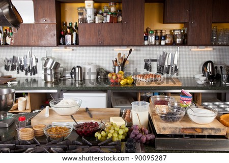 Kitchen Setup attractive female chef working her kitchen stock photo 63701236