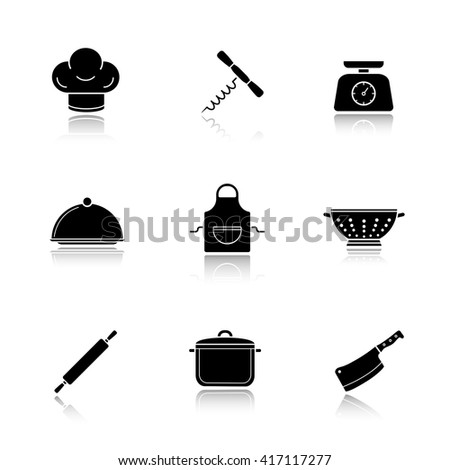 Restaurant Kitchenware kitchen tools drop shadow icons set stock vector 350629475